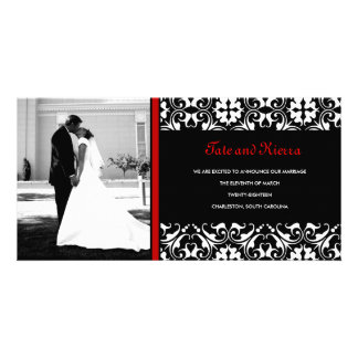 311-RED DAMASK WEDDING PHOTO CARD