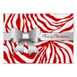 311-Red Zebra Stripes Bow Photo Christmas Card