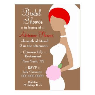 311-REDHEAD BRIDE SHOWER INVITATION POSTCARD