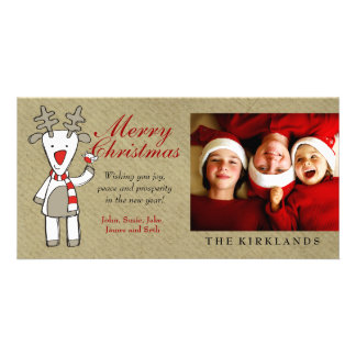 311-Reindeer Merry Christmas Custom Photo Card