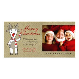 311-Reindeer Merry Christmas Custom Photo Photo Card Template