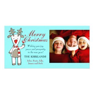 311-Reindeer Merry Christmas Custom Photo Customized Photo Card
