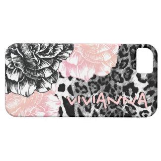 311 rosa enrrollado del leopardo de Le Plush Fleur iPhone 5 Carcasas