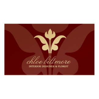 311- Rouge Floral Flare Gold Card Business Card