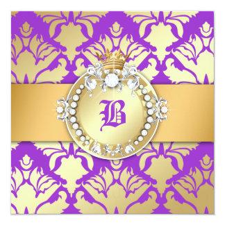 311-Royal Damask Shimmer Queen Sweet Sixteen Card