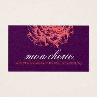 311 Ruffled Peony Coral Melon Purple Business Card