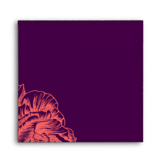 311 Ruffled Peony Coral Melon Purple Square Envelope