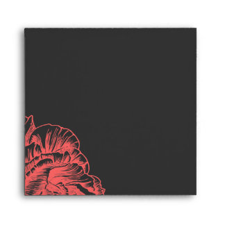 311 Ruffled Peony Coral Melon Square Envelope
