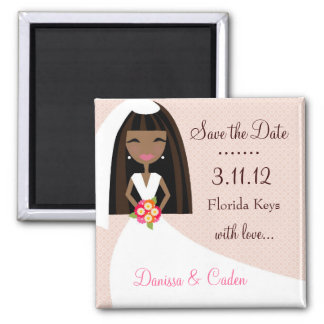 311-SAVE THE DATE AFRICAN AMERICAN BRIDE 2 INCH SQUARE MAGNET