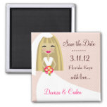 311-SAVE THE DATE BLONDE BRIDE 2 INCH SQUARE MAGNET