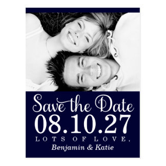 311 Save the Date Photo Postcard Navy Blue