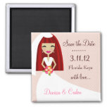 311-SAVE THE DATE RED HEAD BRIDE 2 INCH SQUARE MAGNET