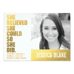 311 She Believed She Could So She Did Graduation 5x7 Paper Invitation Card
