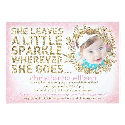 311 She Leaves A Little Sparkle Floral Wreath Announcement Cards