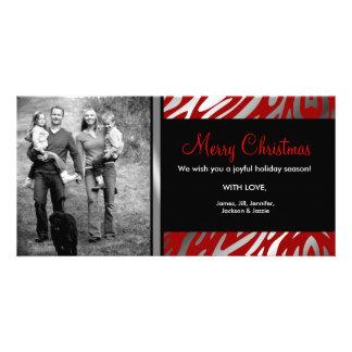 311-Shimmer Zebra Christmas Photo Red Photo Cards