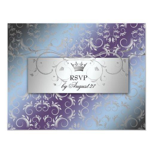 311-Silver adivinan el Hydrangea RSVP Invitacion Personal