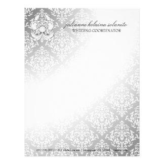 311-Silver Diamond Luxe Damask Letterhead