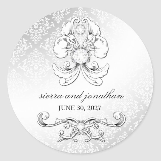 311-Silver Diamond Luxe Damask Sticker