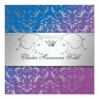 311-Silver Divine Blue Bliss Sweet 16 Personalized Invites
