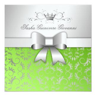 311-Silver Divine Bow   Lime Flourish Sweet 16 Card