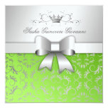 "311-Silver Divine Bow | Lime Flourish Sweet 16 5.25"" Square Invitation Card"