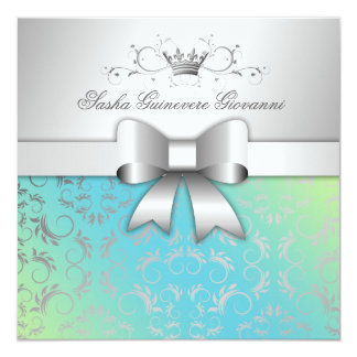 311-Silver Divine Bow | Turquoise Lime Sweet 16 Card