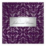 311 Silver Divine | Eggplant 5.25x5.25 Square Paper Invitation Card