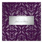 311-Silver Divine | Eggplant 5.25x5.25 Square Paper Invitation Card
