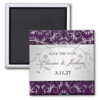 311-Silver Divine | Eggplant Save the Date 2 Inch Square Magnet