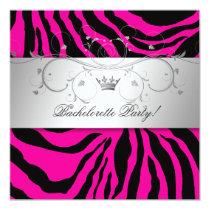 311-Silver Divine Hott Pink Zebra Bachelorette Invitation