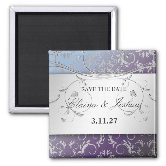 311-Silver Divine Hydrangea Save the Date 2 Inch Square Magnet