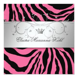 311-Silver Divine Pink Zebra Sweet Sixteen Card