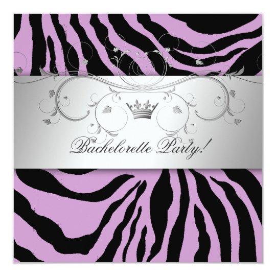 311-Silver Divine Purple Zebra Bachelorette Card