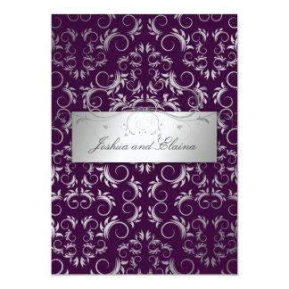 311 Silver {Faux}  Divine   Eggplant Card