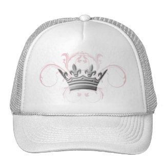 311-Silver Tiara Pink Swirls Trucker Hat