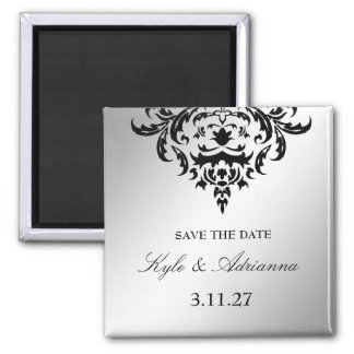 311-Simplisticly Elegant Damask Save the Date Magnet