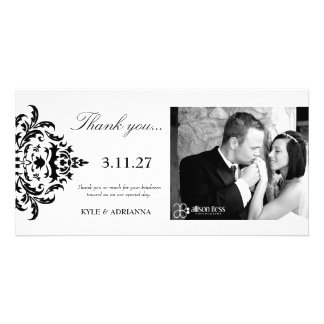 311-Simplisticly Elegant Damask Thank You Picture Card