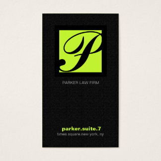 311-SIMPLY SQUARE MONOGRAM TEXTURE-LIME BUSINESS CARD