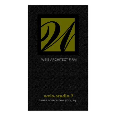 Lime Green or Sage Square Monogram Black Texture Architect Business Cards