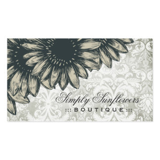 311 Simply Sunflowers Damask Business Card Templates