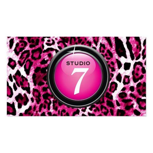 """311-Sleek """"Button"""" Hot Pink Leopard Business Card Template"""