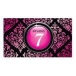 "311-Sleek ""Button"" Hot Pink Yummy Damask Business Cards"