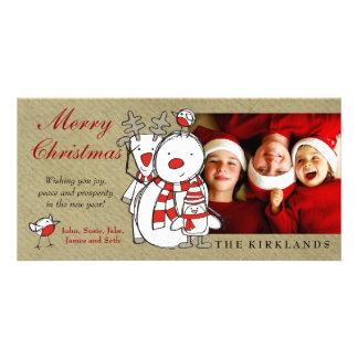 311-Snowman & Friends Merry Christmas Custom Photo Card