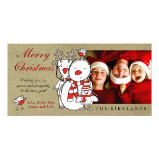 311-Snowman Friends Merry Christmas Custom Photo Photo Cards