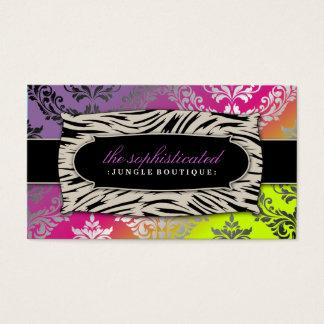 311 Sophisticated Jungle Damask Pink Purebred Su Business Card