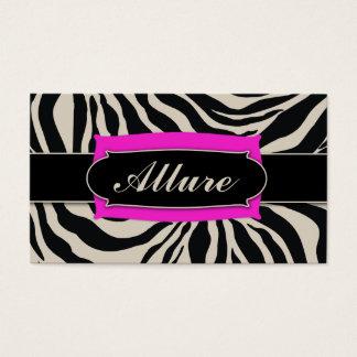 311 Sophisticated Jungle Hot Pink Zebra 3 Monogram Business Card