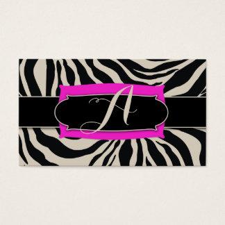 311 Sophisticated Jungle Hot Pink Zebra Monogram Business Card
