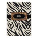 "311-Sophisticated Jungle Zebra 5"" X 7"" Invitation Card"