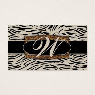 311 Sophisticated Jungle Zebra Monogram Business Card