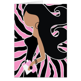 311-Spa Fashionista Long Pink Zebra Stationery Note Card